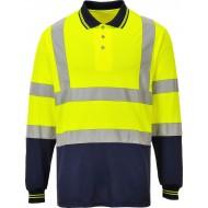 Dwukolorowa koszulka polo długi rękaw Portwest S279