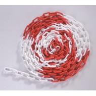 Łańcuch plastikowy 8mm biało-czerwony 25mb