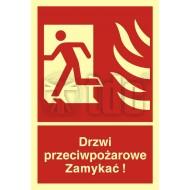Tablica Drzwi przeciwpożarowe. Zamykać! Kierunek drogi ewakuacyjnej w lewo 15 x 22,2