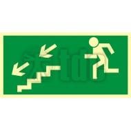 Tablica Kierunek do wyjścia drogi ewakuacyjnej schodami w dół w lewo 10x20