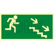 Tablica Kierunek do wyjścia drogi ewakuacyjnej schodami w dół w prawo 10x20