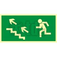 Tablica Kierunek do wyjścia drogi ewakuacyjnej schodami w górę w lewo 10x20