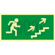 Tablica Kierunek do wyjścia drogi ewakuacyjnej schodami w górę w prawo 10x20