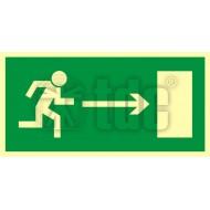 Tablica Kierunek do wyjścia drogi ewakuacyjnej w prawo 10x20