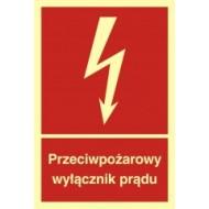 Tablica Przeciwpożarowy wyłącznik prądu 10x14,8