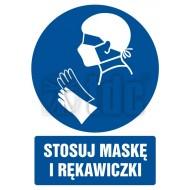 Tablica Stosuj maskę i rękawiczki  10,5x14,8