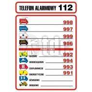 Tablica telefonów alarmowych 14,8 x 21