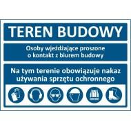 Tablica Teren budowy nakaz używania środków ochrony