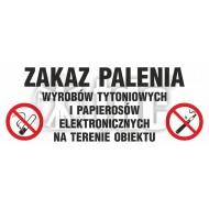 Tablica Zakaz palenia wyrobów tytoniowych i papierosów elektronicznych na terenie obiektu 10 x 25