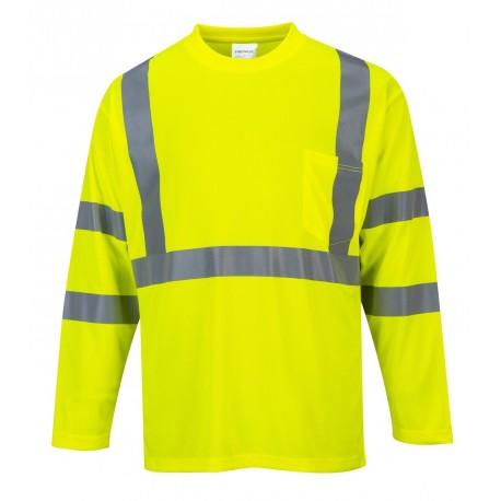 T-shirt ostrzegawczy długi rękaw + kieszonka Portwest S191